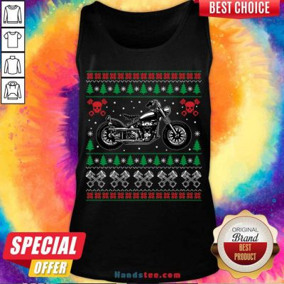 American Motorcycle Cool Biker Ugly Christmas Sweater Gift Tank-Top- Design By Handstee.com