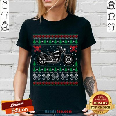 American Motorcycle Cool Biker Ugly Christmas Sweater Gift V-neck- Design By Handstee.com