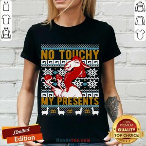 Emperor's New Groove Kuzco No Touchy Ugly Christmas V-neck- Design By Handstee.com