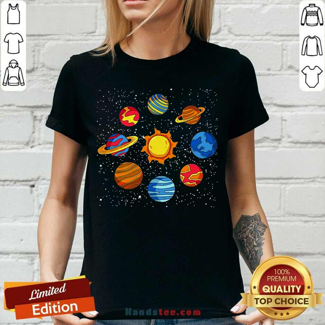Good Universe Planets Gift Idea Science Lover Astronomy V-neck- Design by handstee.com