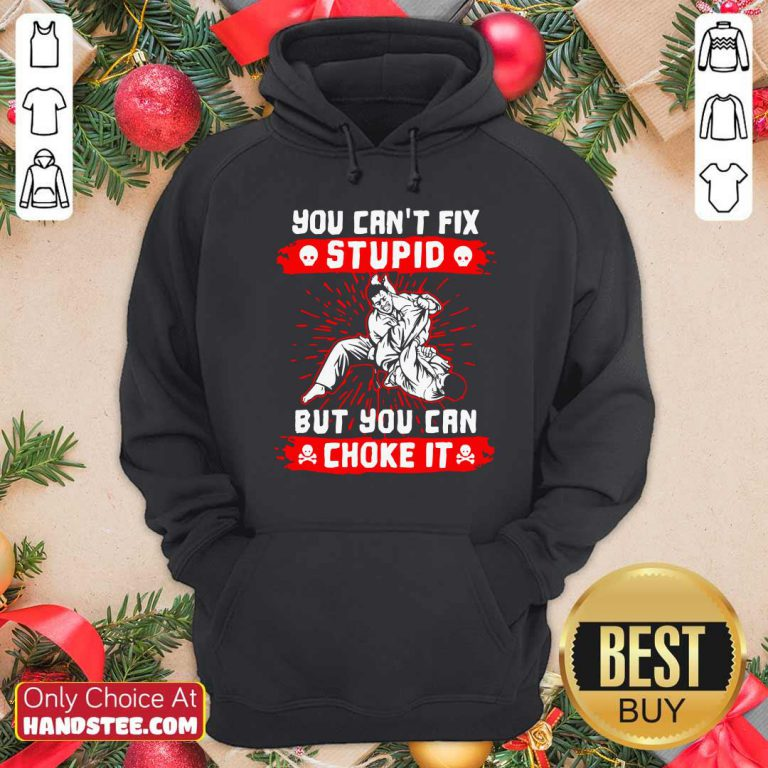 Good You Can't Fix Stupid But You Can Choke It Hoodie - Design by handstee.com