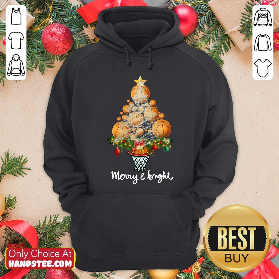 Nice Good Volleyball Merry And Bright Christmas Tree Hoodie - Design by handstee.com