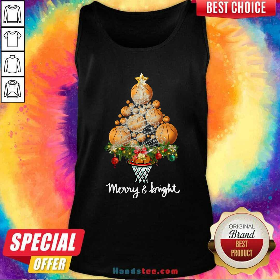 Nice Good Volleyball Merry And Bright Christmas Tree Tank Top - Design by handstee.com