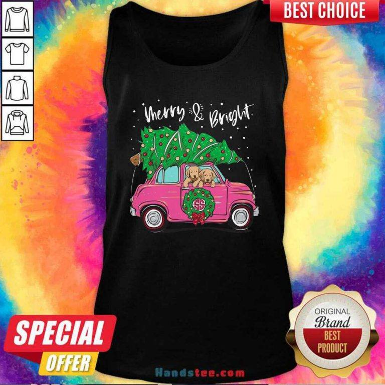 Nice Merry And Bright Pitbull Dog Ugly Christmas Tank Top - Design by handstee.com