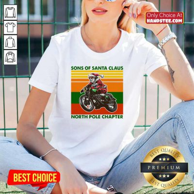 Nice Motorcycle Sons Of Santa Claus North Pole Chapter Christmas V-neck - Design by handstee.com