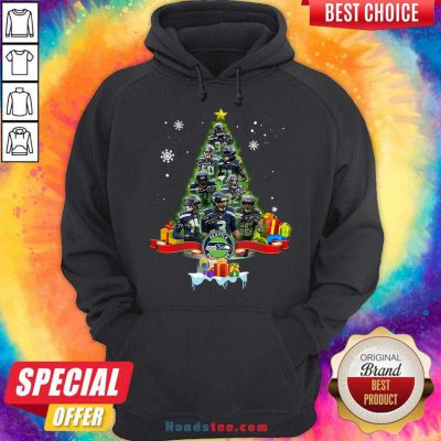 Seattle Seahawks Player Signatures Christmas Tree Hoodie- Design By Handstee.com