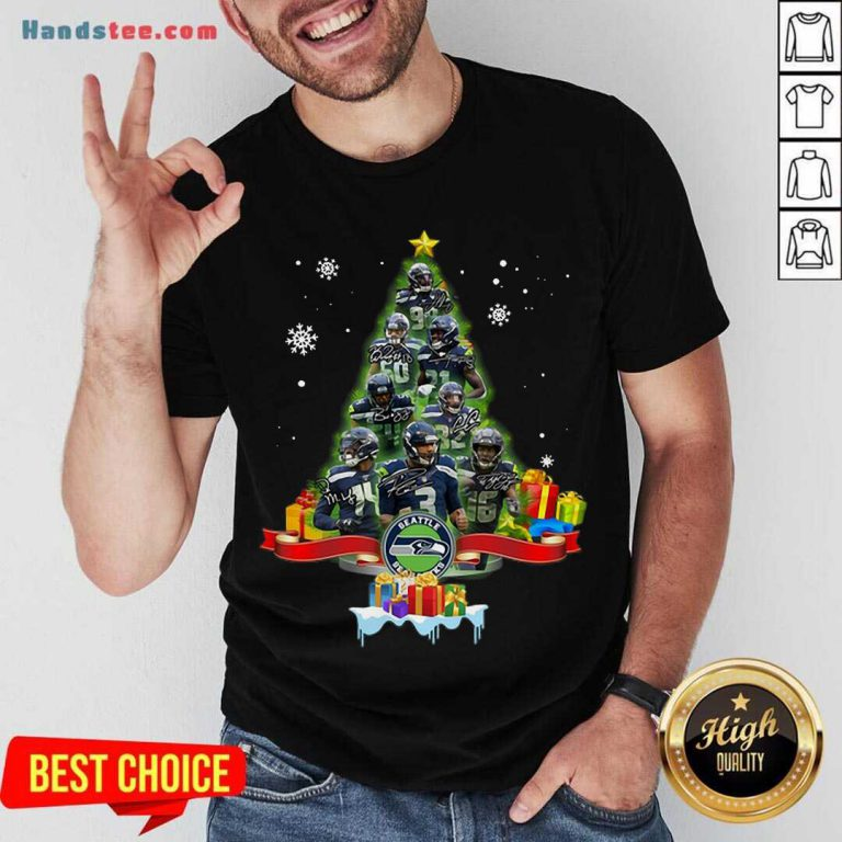 Seattle Seahawks Player Signatures Christmas Tree Shirt- Design By Handstee.com