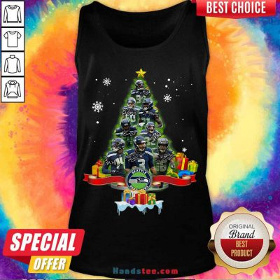 Seattle Seahawks Player Signatures Christmas Tree Tank-Top- Design By Handstee.com