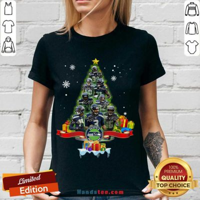 Seattle Seahawks Player Signatures Christmas Tree V-neck- Design By Handstee.com
