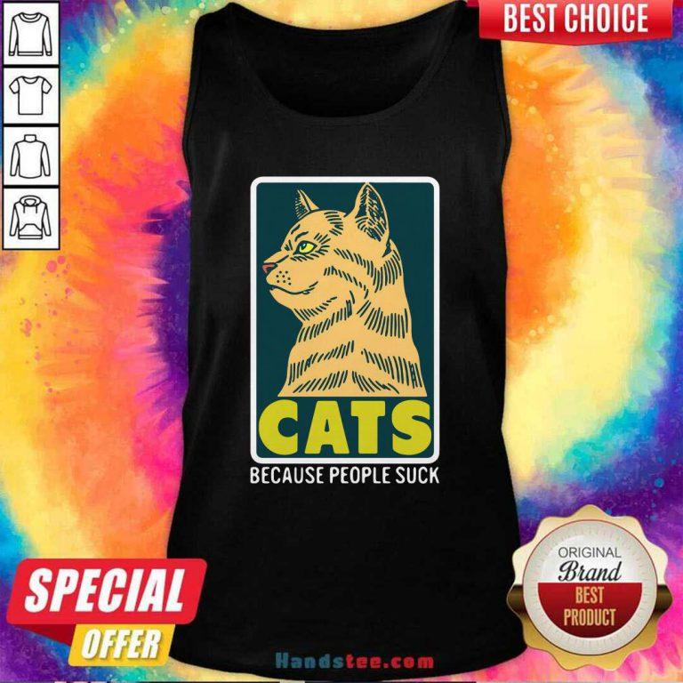 Official Cats Because People Suck Tank Top- Design by handstee.com