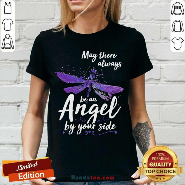 Official Dragonfly May There Always Be An Angel By Your Side V-neck - Design by handstee.com