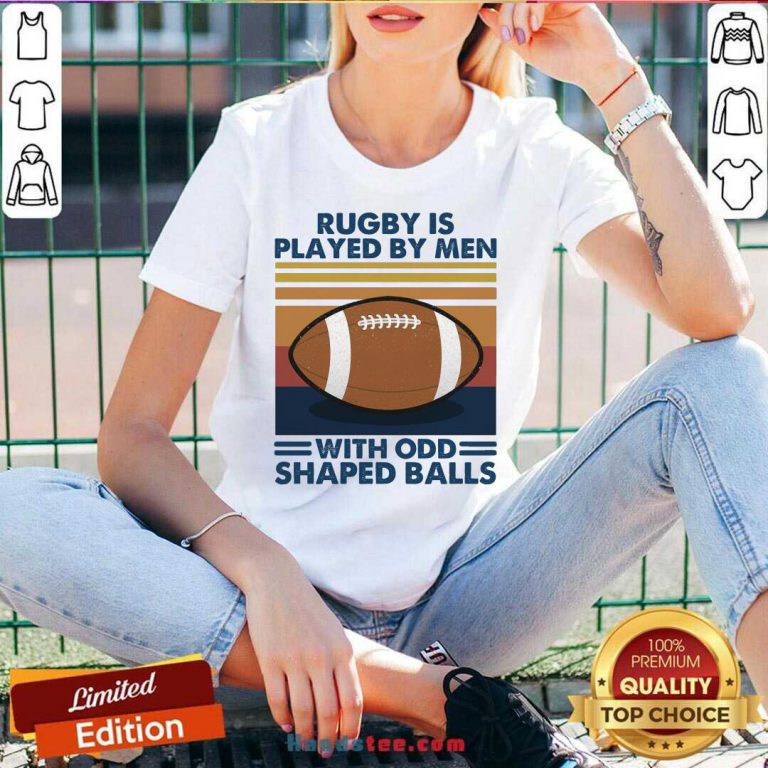 Rugby Is Played By Men With Odd Shaped Balls Vintage Retro V-neck- Design By Handstee.com