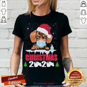 Daschund Santa Christmas 2020 V-neck- Design By Handstee.com