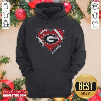Georgia Bulldogs Football Diamond Heart Hoodi- Design By Handstee.come