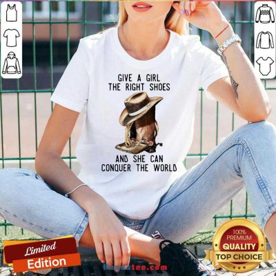 Give A Girl The Right Shoes And She Can Conquer The World V-neck- Design By Handstee.com