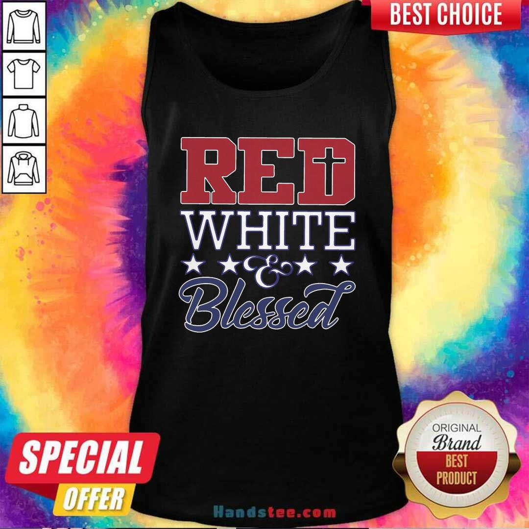 Original Red White And Blessed Vintage Tank Top - Design by handstee.com