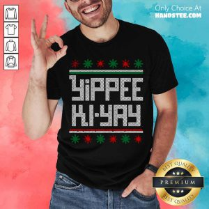 Yippee Ki Yay Funny Christmas Cross Stitch Pullover Shirt- Design By Handstee.com