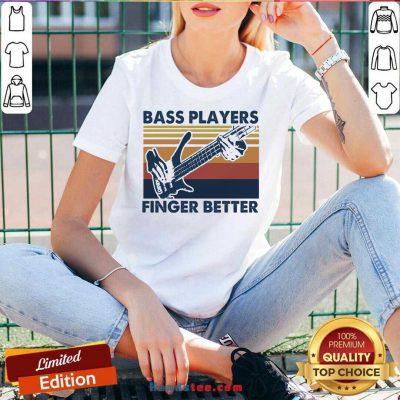 Bass Players Finger Better Vintage Retro V-neck- Design By Handstee.com