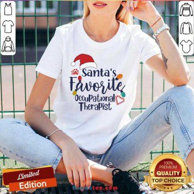 Santa's Favorite Occupational Therapist V-neck- Design By Handstee.com