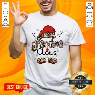 Leopard Grandma Claus Ugly Christmas Shirt- Design By Handstee.com