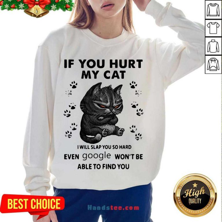 If You Hurt My Cat I Will Slap You So Hard Even Google Won't Be Able To Find You Sweatshirt- Design By Handstee.com