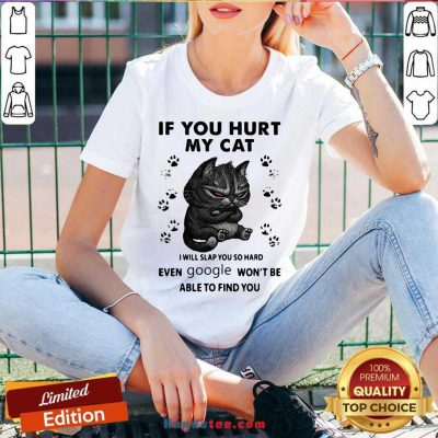 If You Hurt My Cat I Will Slap You So Hard Even Google Won't Be Able To Find You V-neck- Design By Handstee.com
