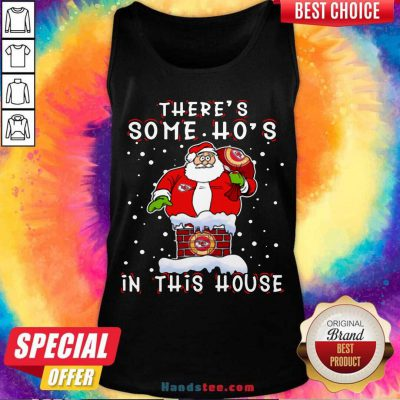 Kansas City Chiefs Christmas There Is Some Hos In This House Santa Stuck In The Chimney NFL Youth Tank-Top- Design By Handstee.com