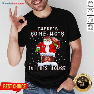 Kansas City Chiefs Christmas There Is Some Hos In This House Santa Stuck In The Chimney NFL Youth Shirt- Design By Handstee.com