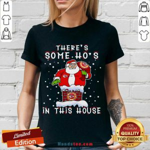 Kansas City Chiefs Christmas There Is Some Hos In This House Santa Stuck In The Chimney NFL Youth V-neck- Design By Handstee.com