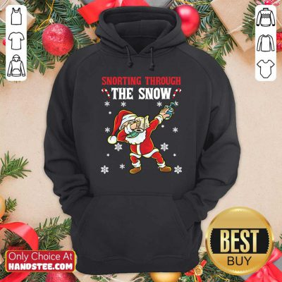Snorthing Through The Snow Dabbing Santa Claus Face Mask Toilet Paper Hand Sanitizer Hoodie- Design by handstee.com