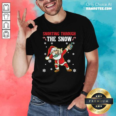 Snorthing Through The Snow Dabbing Santa Claus Face Mask Toilet Paper Hand Sanitizer Shirt- Design by handstee.com