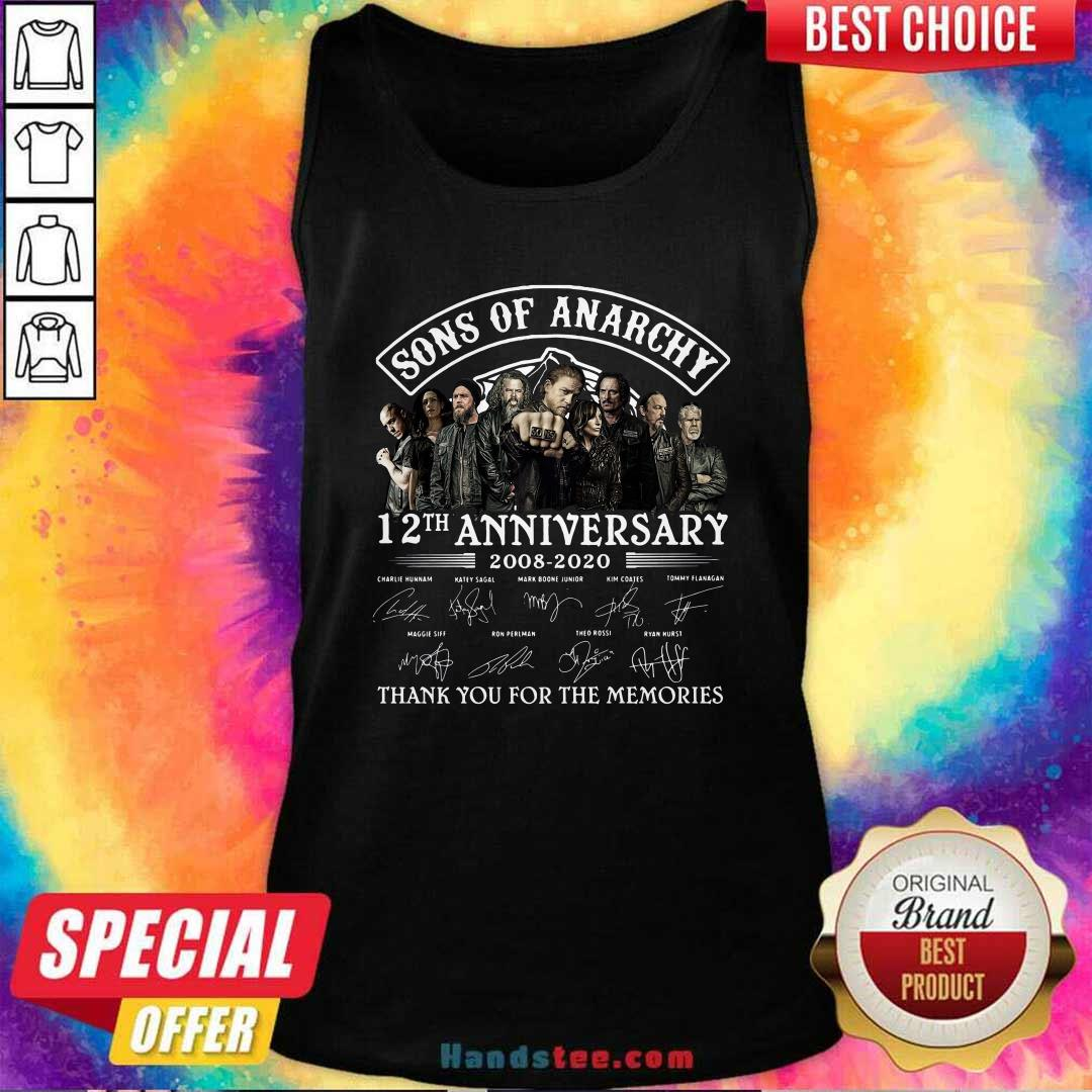 Son Of Anarchy 13th Anniversary 2008 Thank You For The Memories Signatures Tank Top - Design by handstee.com