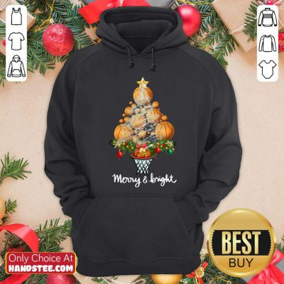 Volleyball Merry And Bright Christmas Tree Hoodie- Design By Handstee.com