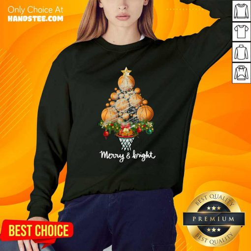 Volleyball Merry And Bright Christmas Tree Sweatshirt- Design By Handstee.com
