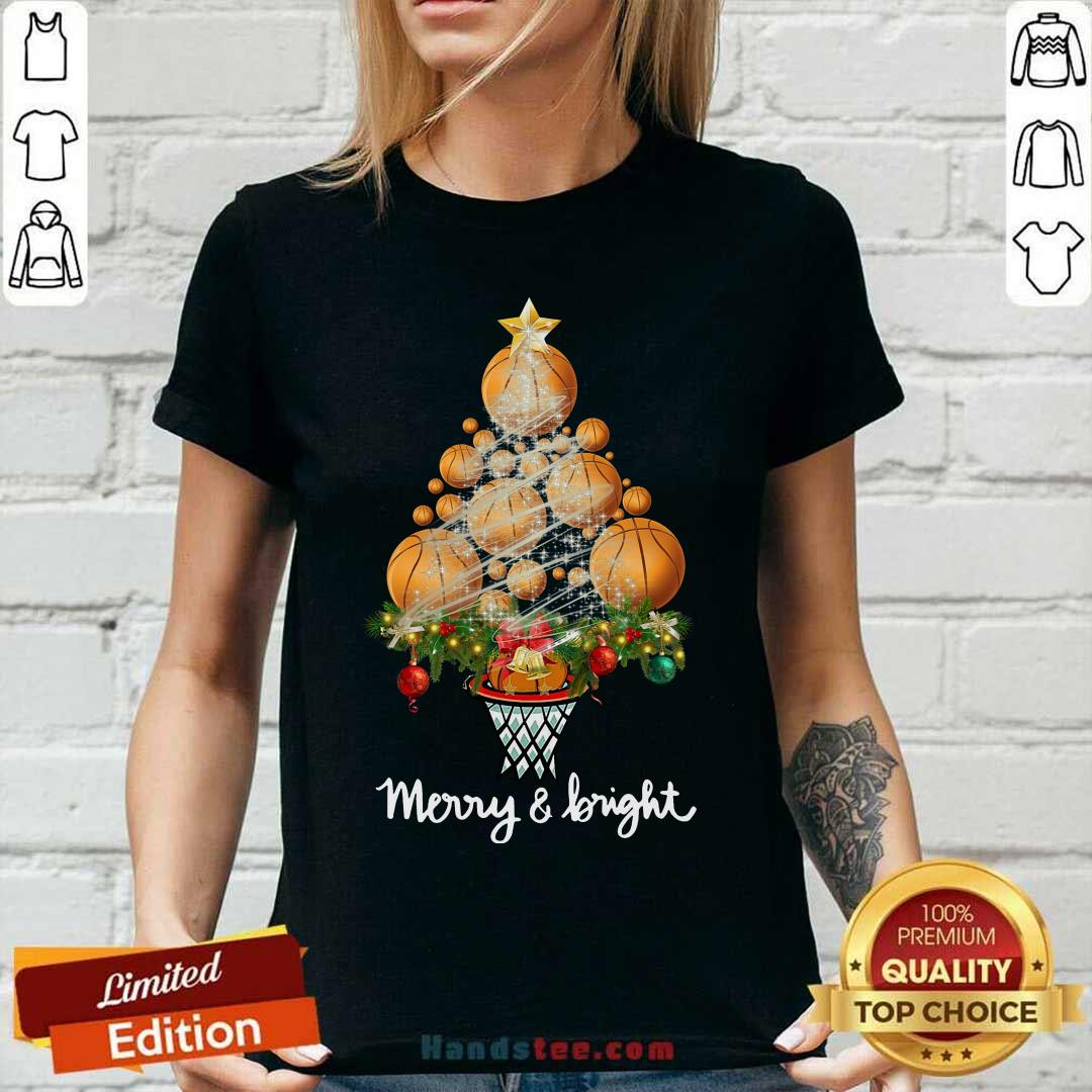 Volleyball Merry And Bright Christmas Tree V-neck- Design By Handstee.com