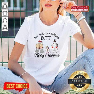 Unicorn We Wish You Nothing Butt Merry Christmas V-neck - Design by handstee.com