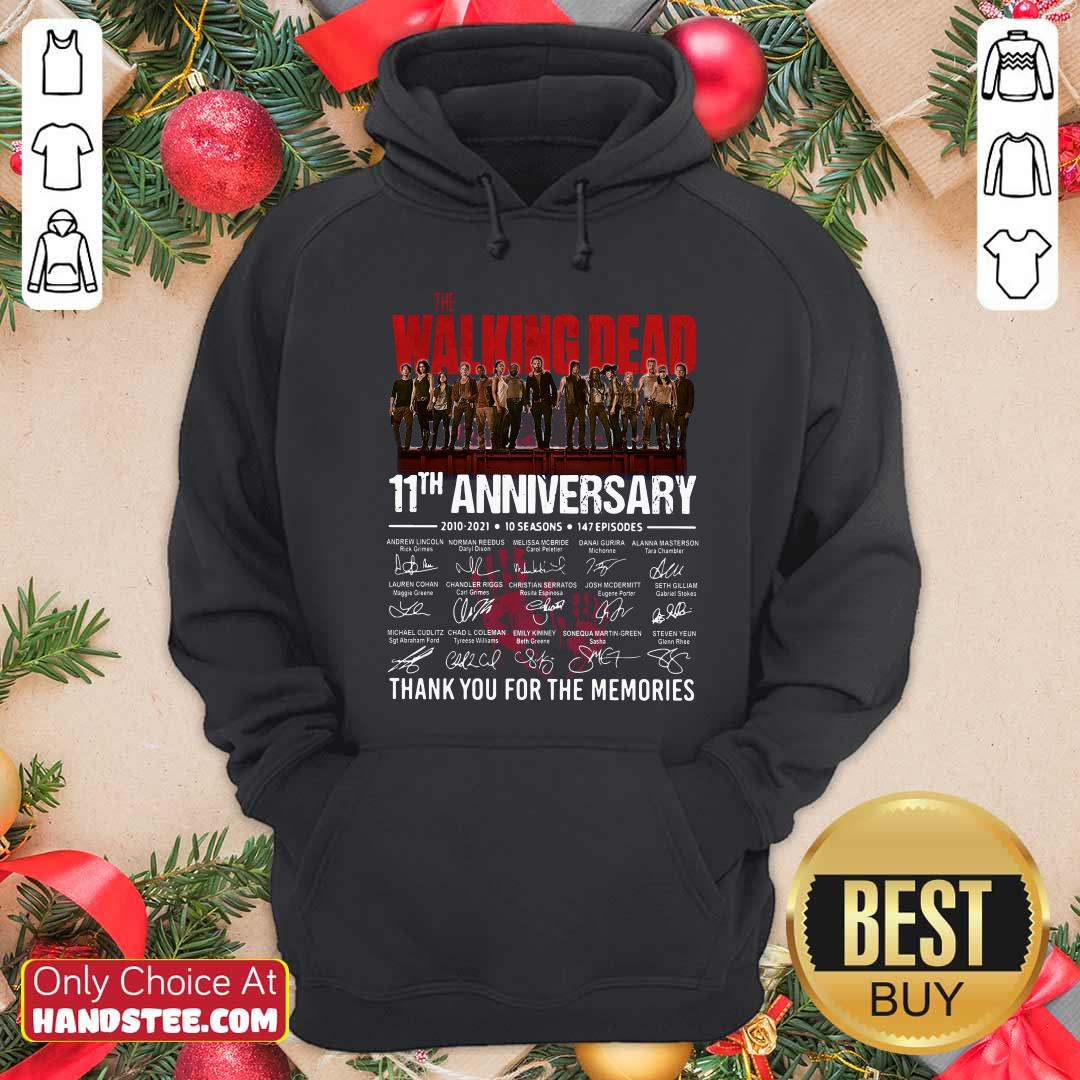 Walking Dead 11th Anniversary 2010 2021 10 Seasons 147 Episodes Thank You For The Memories Signatures Hoodie - Design by handstee.com