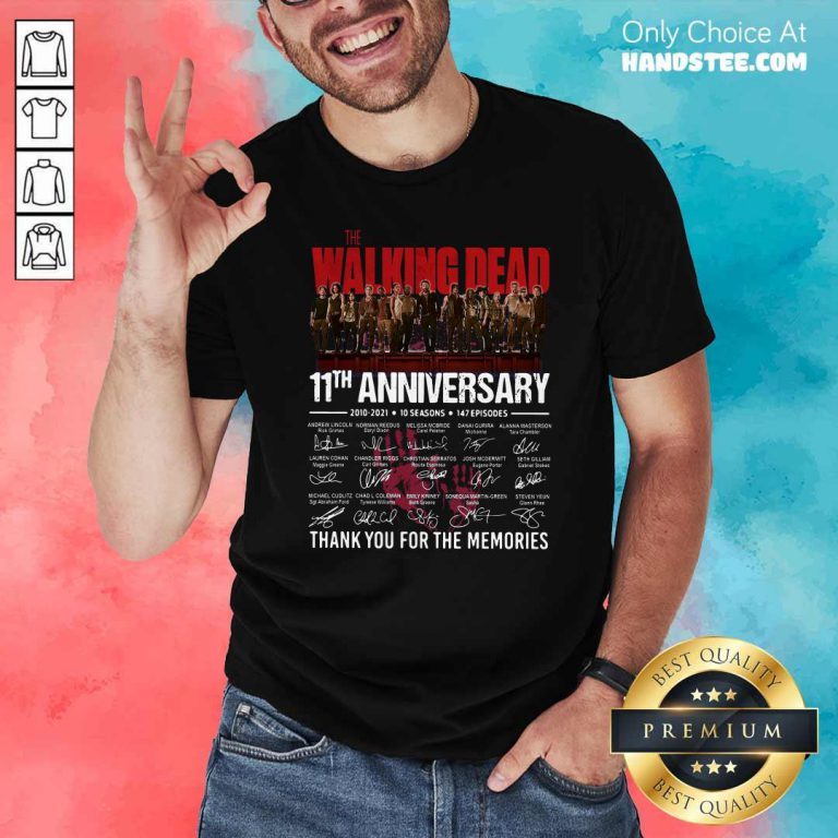 Walking Dead 11th Anniversary 2010 2021 10 Seasons 147 Episodes Thank You For The Memories Signatures Shirt - Design by handstee.com