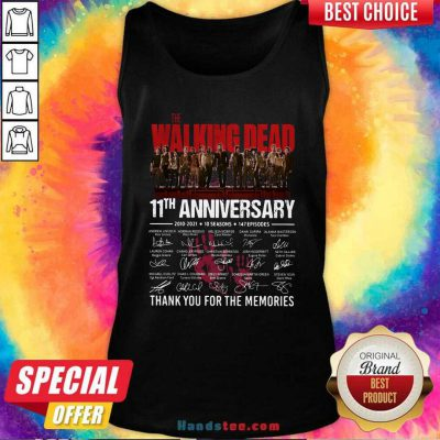 Walking Dead 11th Anniversary 2010 2021 10 Seasons 147 Episodes Thank You For The Memories Signatures Tank Top - Design by handstee.com