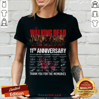 Walking Dead 11th Anniversary 2010 2021 10 Seasons 147 Episodes Thank You For The Memories Signatures V-neck - Design by handstee.com
