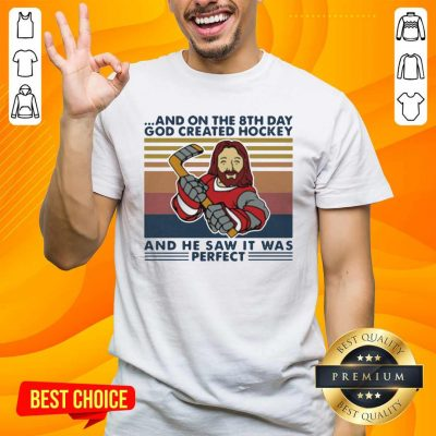 And On The 8Th Day God Created Hockey And He Saw It Was Perfect Vintage Retro Shirt - Design by handstee.com