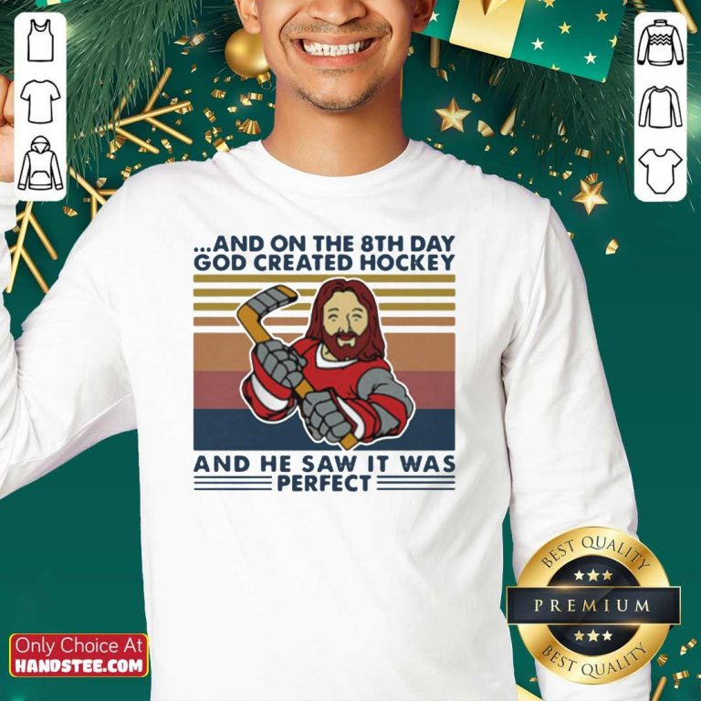 And On The 8Th Day God Created Hockey And He Saw It Was Perfect Vintage Retro Sweatshirt - Design by handstee.com
