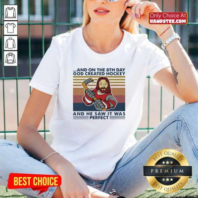 And On The 8Th Day God Created Hockey And He Saw It Was Perfect Vintage Retro V-neck - Design by handstee.com