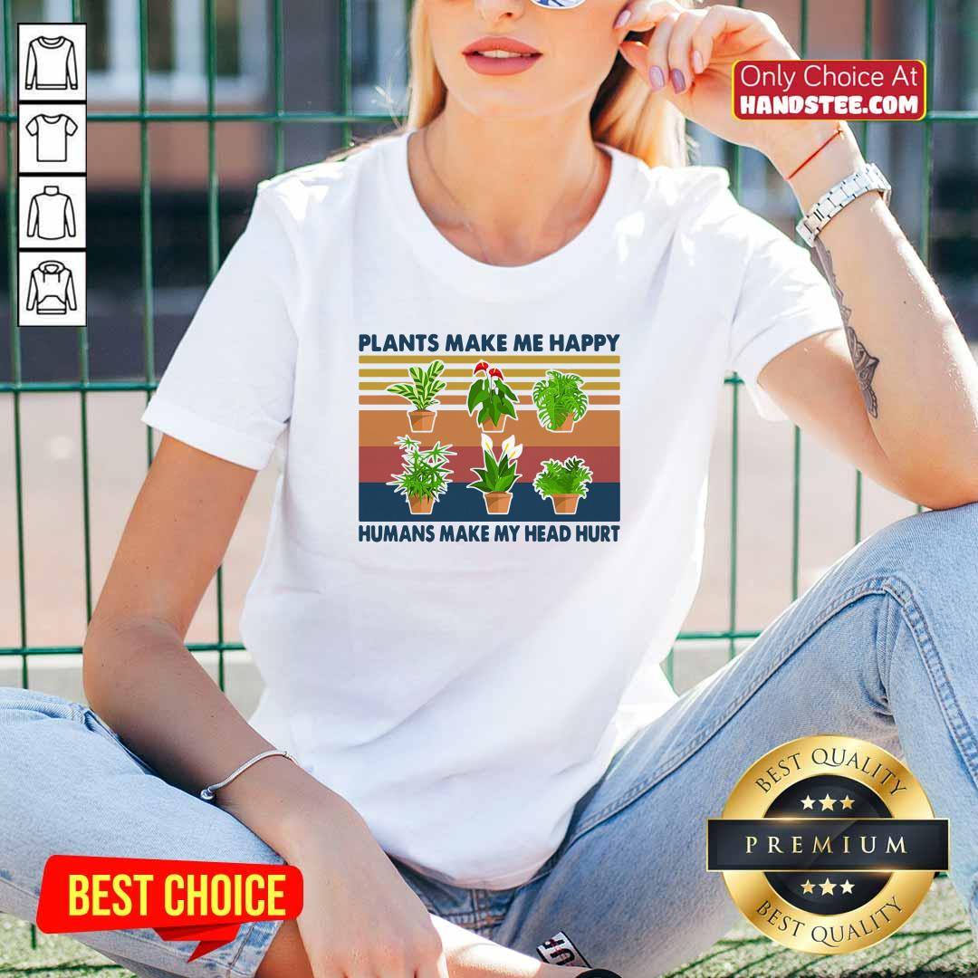 Awesome 4 Gardening Plants Happy V-neck - Design by Handstee.com