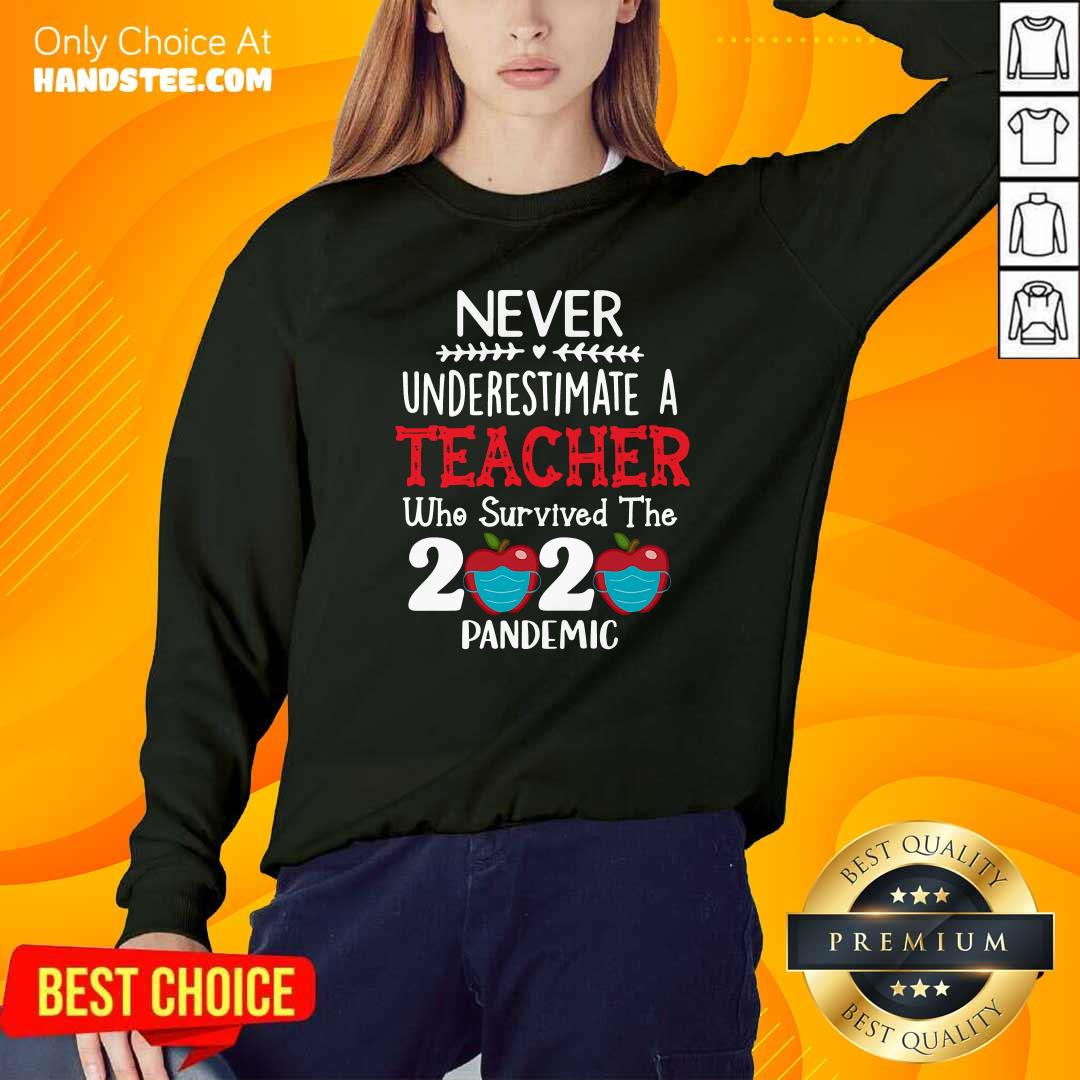 Awesome Never Underestimate A Teacher Who Survived The 2020 Pandemic Sweatshirt - Design by handstee.com