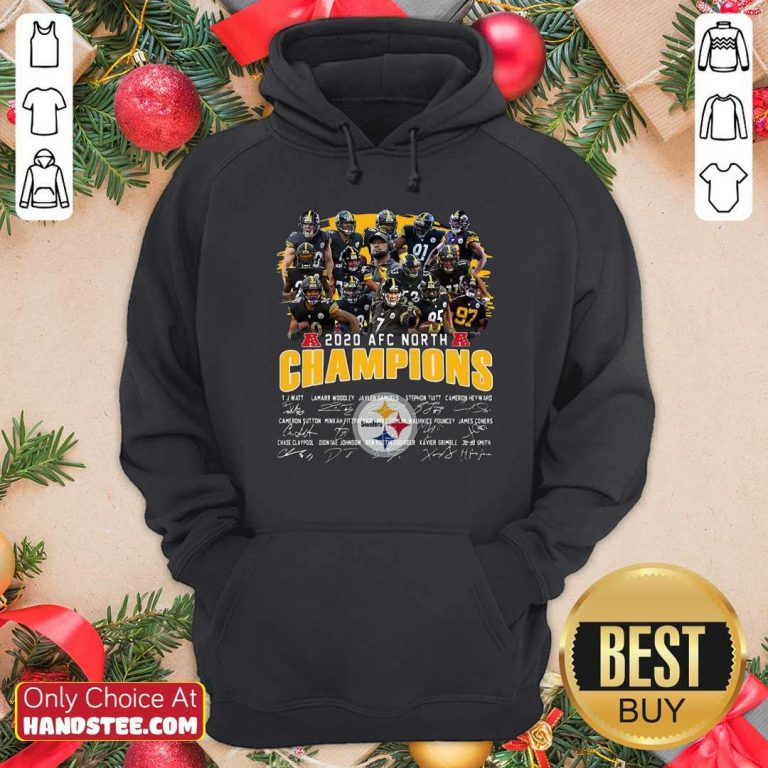 Awesome Pittsburgh Steelers 2020 Afc North Champions Signatures Hoodie - Design by handstee.com