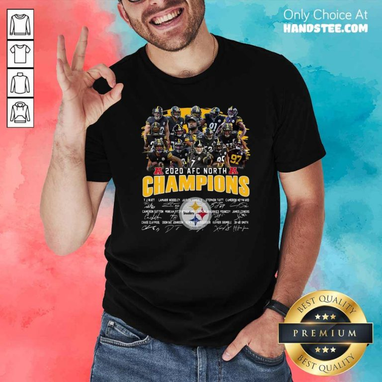 Awesome Pittsburgh Steelers 2020 Afc North Champions Signatures Shirt - Design by handstee.com