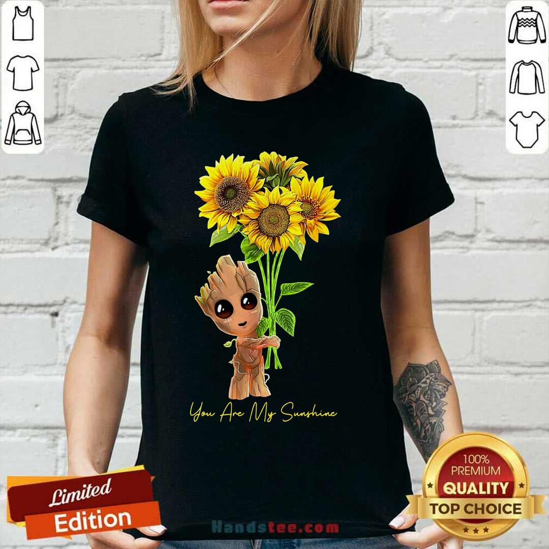 Baby Groot Hold Sunflowers You Are My Sunshine V-neck - Design by handstee.com