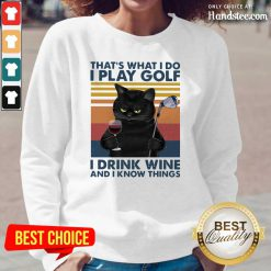 Cheated Black Cat I Play Golf I Drink Wine And I Know Things 7 Vintage Retro Long-Sleeved - Design by Handstee.com