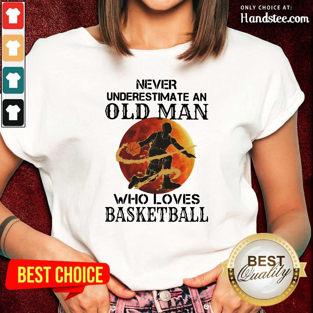 Confident An Old Man Who Loves Basketball 5 Ladies Tee